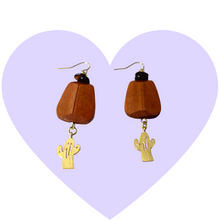 Load image into Gallery viewer, Boho Gold Cactus Earrings