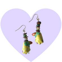Load image into Gallery viewer, Ceramic Tropical Toucan Bird Earrings