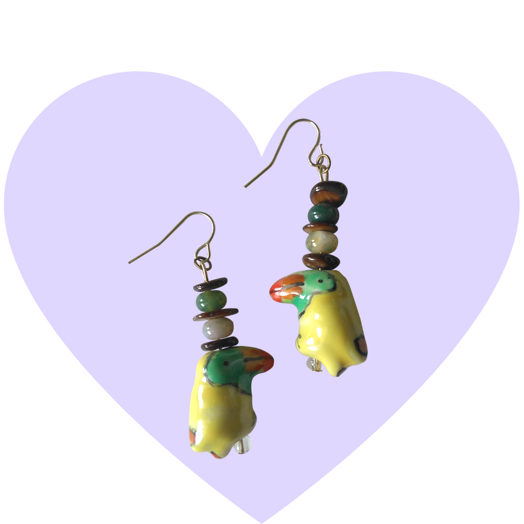 Ceramic Tropical Toucan Bird Earrings