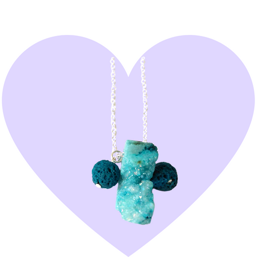 Blue Ice Raw Geode Necklace