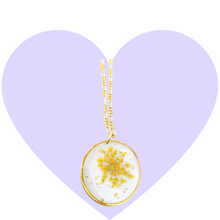 Load image into Gallery viewer, Golden Blossom Pressed Flower Necklace