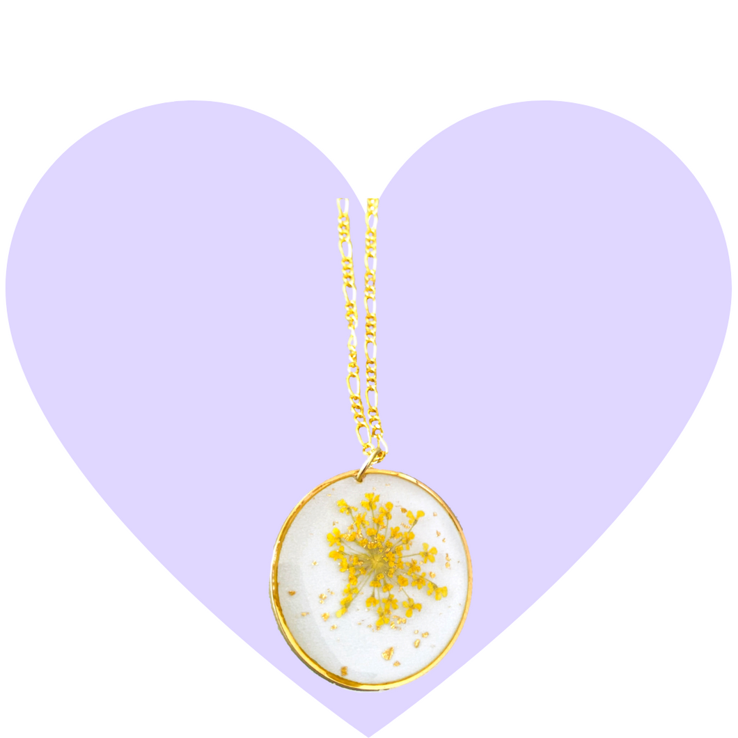 Golden Blossom Pressed Flower Necklace