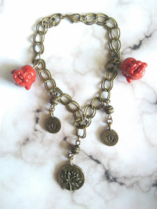 Lucky Lotus Laughing Buddha Charm Bracelet