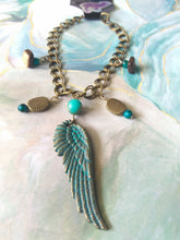 Load image into Gallery viewer, Patina Feathered Angel Charm Bracelet