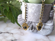 Load image into Gallery viewer, Hamsa Protection Dangle Earrings