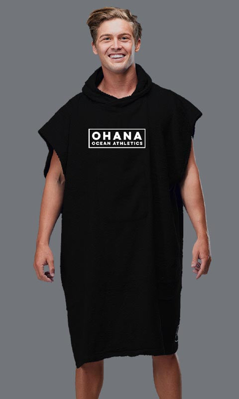 OHANA HOODED TOWEL- BLACK