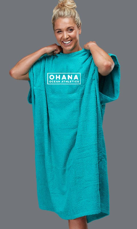 OHANA HOODED TOWEL- TEAL