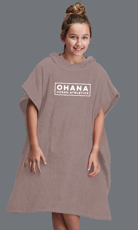 OHANA YOUTH HOODED TOWEL- ANTLER