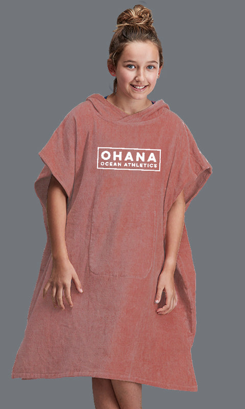 OHANA YOUTH HOODED TOWEL- CANYON ROSE