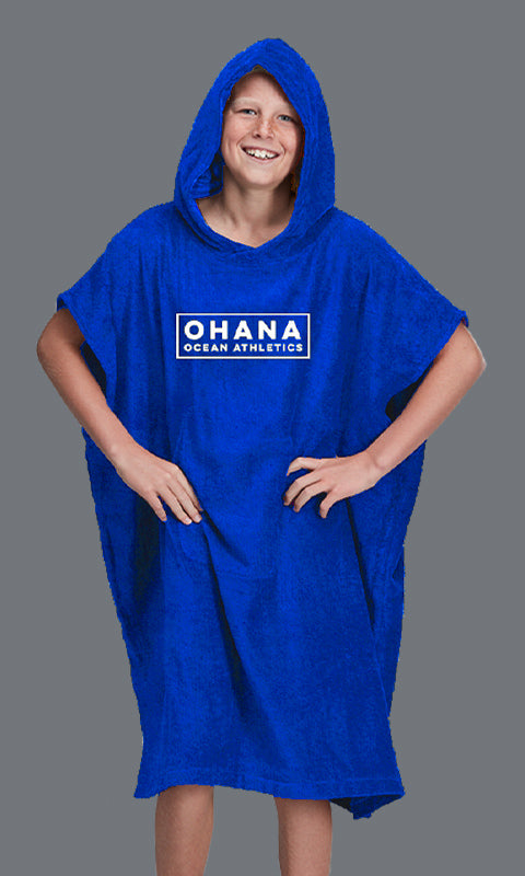 OHANA YOUTH HOODED TOWEL- DAZZLING BLUE