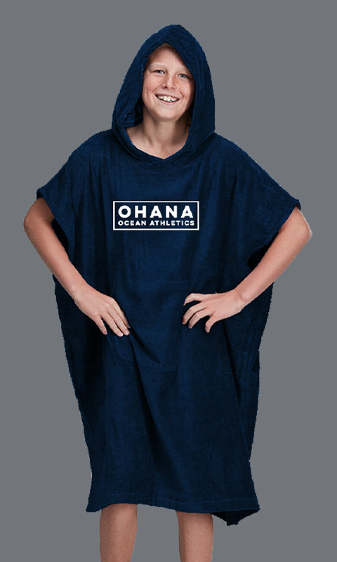 OHANA YOUTH HOODED TOWEL- NAVY