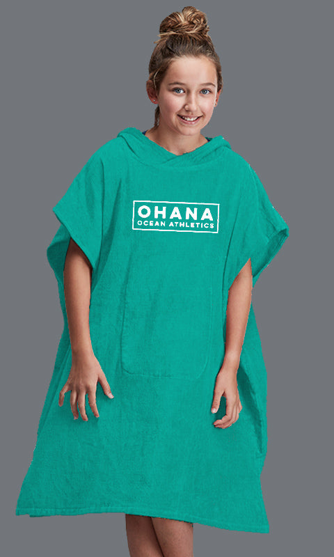 OHANA YOUTH HOODED TOWEL- TEAL