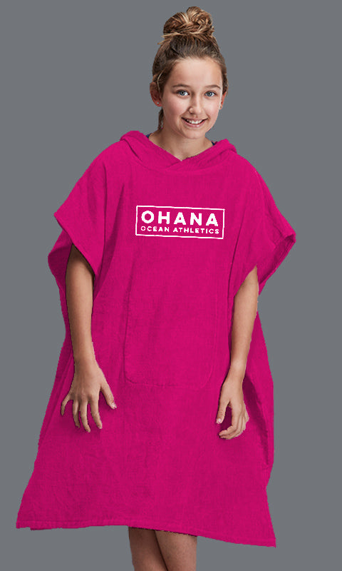 OHANA YOUTH HOODED TOWEL- WATERMELON