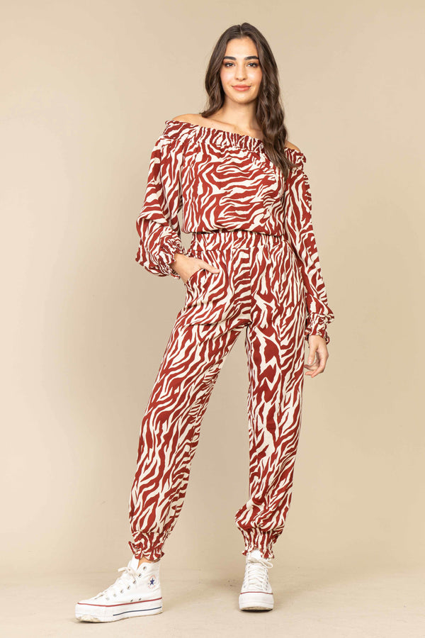 Conjunto Comfy Animal Print Franzido Marrom