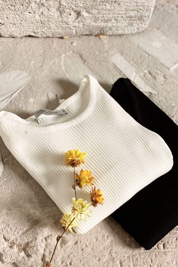 Camiseta Cropped Tricot Off White