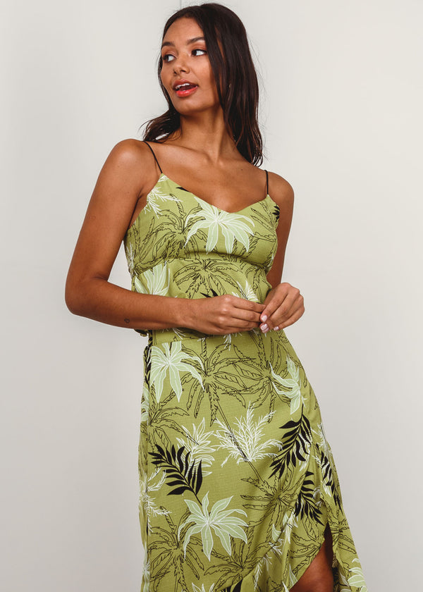 Top Cropped Tropical Babado Alça Espaguete Verde