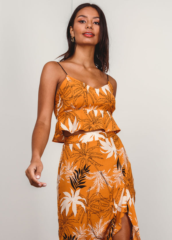 Top Cropped Tropical Babado Alça Espaguete Laranja