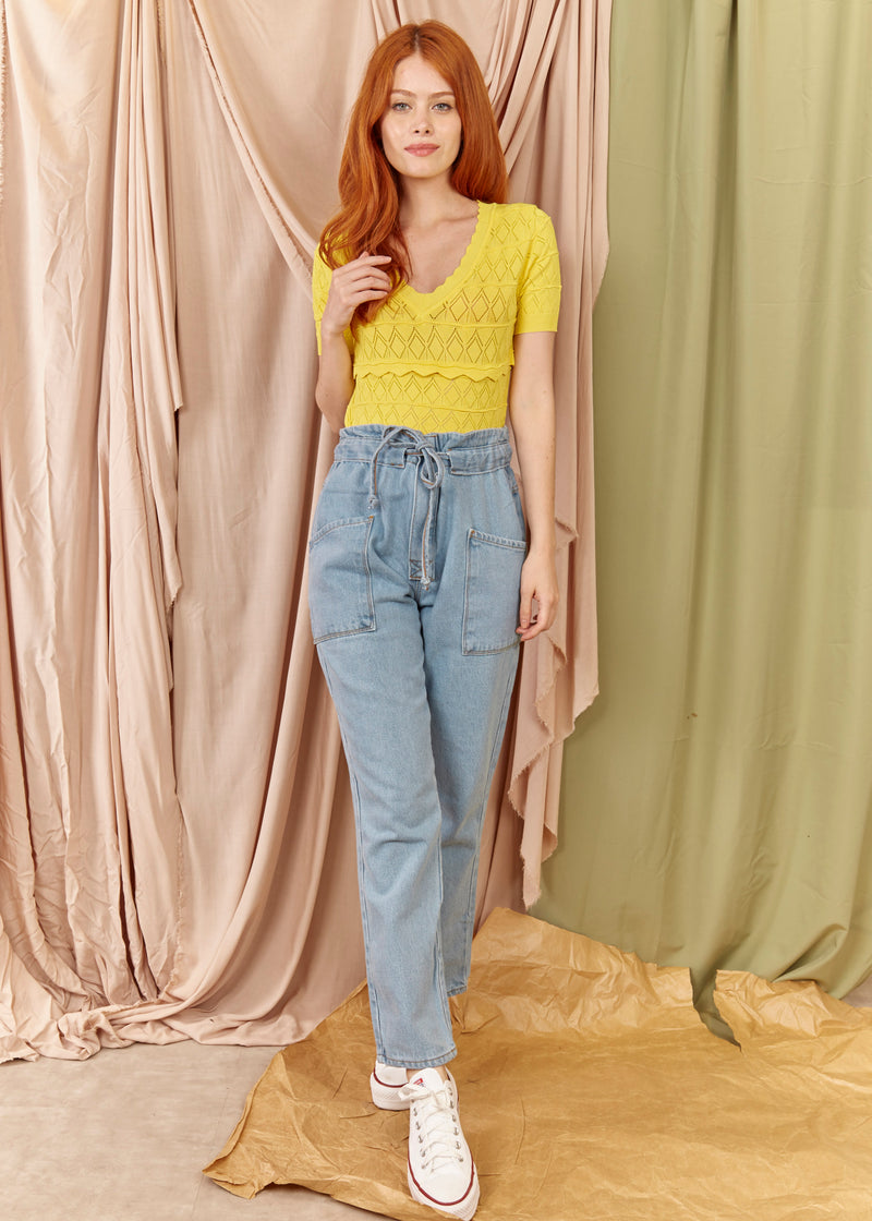 Blusa Cropped Tricot Amarelo