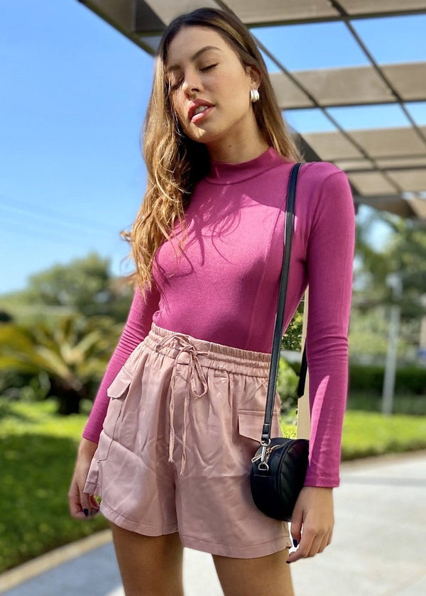 Body Manga Longa Turtle Neck Rosa