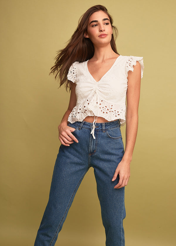 Cropped Laise Franzido Curto Renda Barra Off White