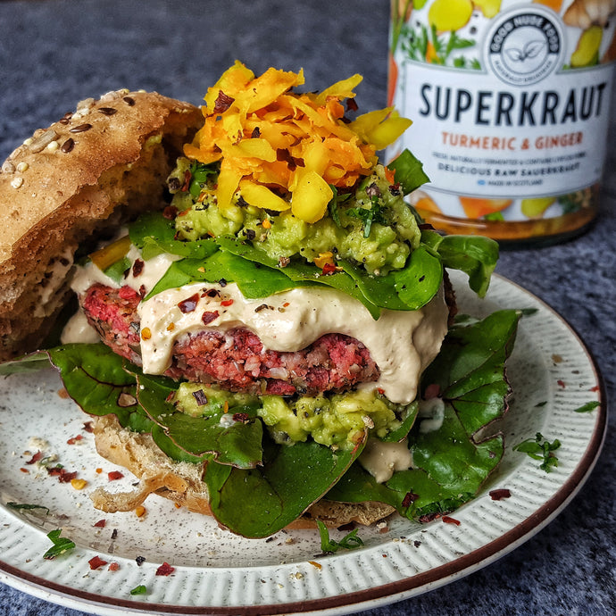 Beetroot, Sweet Potato & Quinoa Burgers