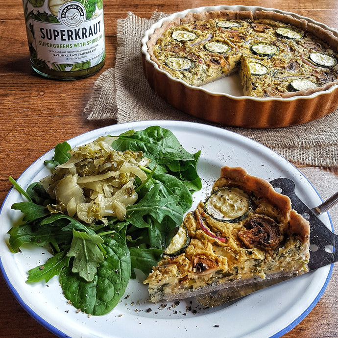 Courgette, Mushroom & Red Onion Vegan Quiche