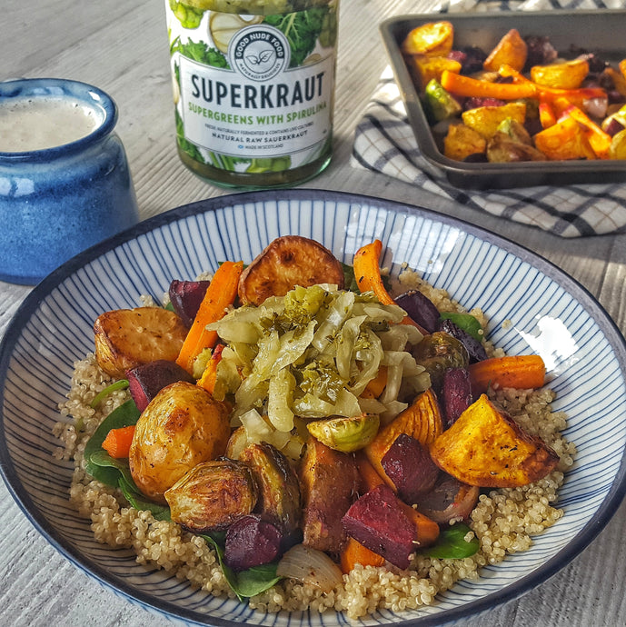 Roasted Root Veg Bowl with Quinoa & Lemon Garlic Cashew Sauce