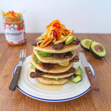 Pancakes with tempeh and fermented sauerkraut