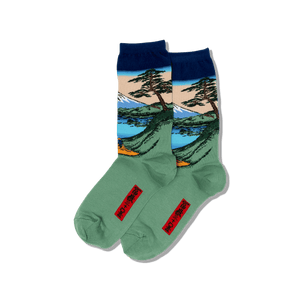 Womens Hokusais Mt. Fuji Over a Lake Socks