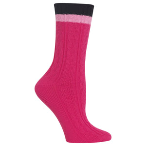 Women's Color Block Cable Knit Crew Socks