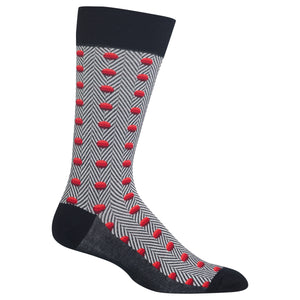 Men's Herringbone Dots Crew Socks