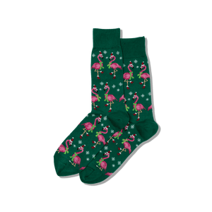 Men's Santa Flamingos Crew Socks