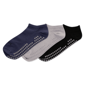 Women's Solid 3-Pack Yoga Non Skid Ankle Socks