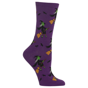 Women's Witch on a Broom Crew Socks