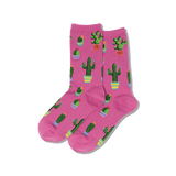 Women's Potted Cactus Crew Socks thumbnail