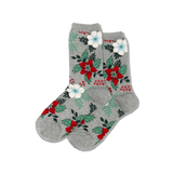 Women's Christmas Pointsettia Crew Socks