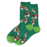 Women's Santa Dog Crew Socks