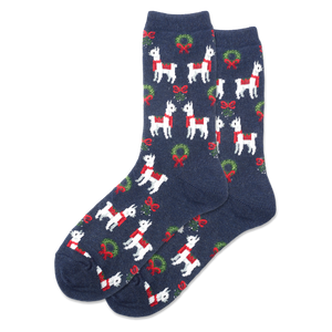 Women's Holiday Llama Crew Socks