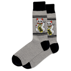 Men's Lucky Fortune Cat Crew Socks
