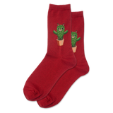 Women's Cat Cactus Crew Socks thumbnail
