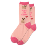 Women's Pugs And Kisses Crew Socks