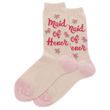Women's Maid Of Honor Floral Crew Socks