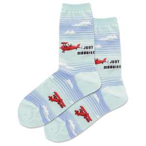 Women's Just Married Plane Crew Socks