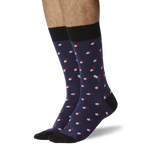 Men's Pills Crew Socks Navy On Leg Image One thumbnail