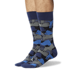 Men's Lion Camouflage Crew Socks Navy On Leg Image One thumbnail