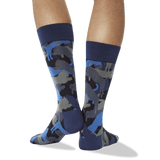 Men's Lion Camouflage Crew Socks in Navy