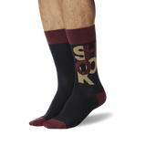 Men's Shook Crew Socks Maroon On Leg Image One thumbnail
