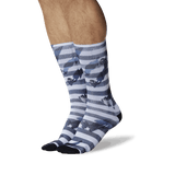 Men's Crosswalk Tube Socks Black, White On Leg Image One