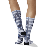 Men's Crosswalk Tube Socks in Black, White thumbnail