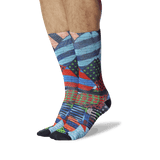 Men's Graffiti Wall Tube Socks Multi-Colored On Leg Image One